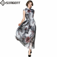 Simgent nowy lato chiny fashion style slim flower wydrukowano eleganckie maxi długi organza dress vestidos jurken ete szata longue femme