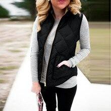 2016 Autumn Winter Women Down Cotton-padded Vest Coat Fashion Pocket Zipper Slim Warm Sleeveless Jacket Waistcoat Black S-XXXL
