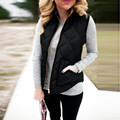2017 Autumn Winter Women Down Cotton-padded Vest Coat Fashion Pocket Zipper Slim Warm Sleeveless Jacket Waistcoat Black S-XXXL