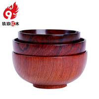 Japanese adult child baby bowl bowls rosewood natural anti scald rosewood mahogany cutlery soup bowl