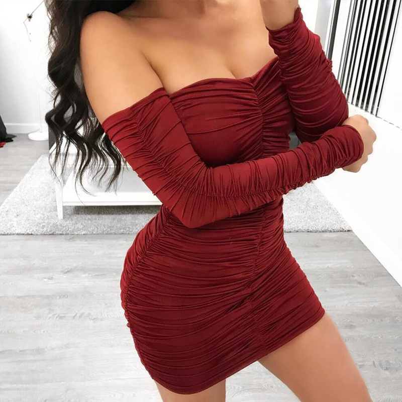 Women Autumn Winter Bandage Dress Women 2019 Sexy Off Shoulder Long Sleeve Slim Elastic Bodycon Party Dresses Vestidos