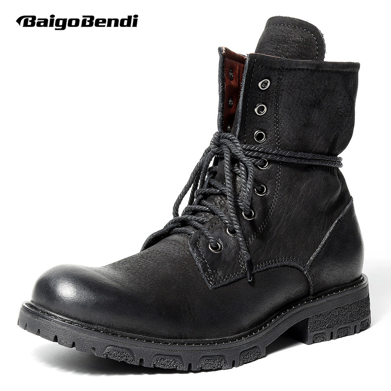 2018 NEW ARRIVAL!! Must Have Mens Full Grain Leather Mid-calf Boots Soliders Martin Boots Man Winter Motorcycle Ridding Boots new arrival superstar genuine leather chelsea boots women round toe solid thick heel runway model nude zipper mid calf boots l63