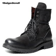 hot deal buy 2018 new arrival!! must have mens full grain leather mid-calf boots soliders martin boots man winter motorcycle ridding boots