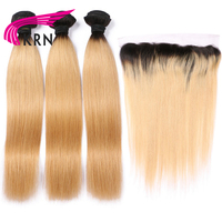 KRN 1B 27 Color Brazilian Remy Hair 3 Pieces Bundles With 13*4 Ear To Ear Lace Frontal Closure Blond Straight Human Hair Bundels