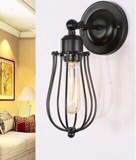 Художественное освещение Промышленное E27 Эдисона настенный светильник винтажный черный железная готовая клетка освещение фитинг для украшения дома