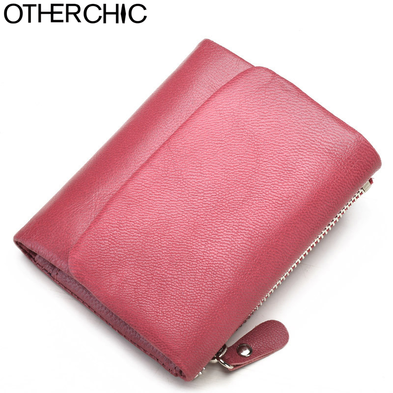 OTHERCHIC Genuine Leather Women Short Wallets Sheep Skin Small Soft Trifold Wallet Purse Wallet Female Purses Money Clip 6N12-39 otherchic genuine leather women short slim wallets small wallet zipper coin pocket purse female purses mini money clip 7n03 26