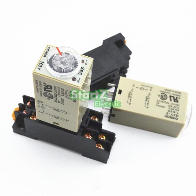 H3Y 2 AC 220V Delay Timer Time Relay 0 10 SEC with Base-in Relays