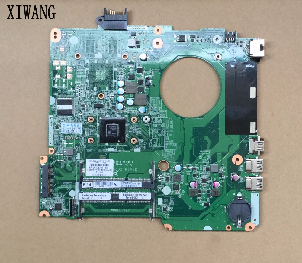 734827-501 734827-001 Free Shipping FOR HP PAVILION TOUCHSMART 15T-N 15-N A6-5200M SERIES laptop motherboard DA0U93MB6D0 REV:D free shipping 765736 501 for hp envy 15 q 15t q motherboard with sr1pz i7 4712hq gtx 850m 4gb all functions 100