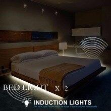 Lumière de lit activée par le mouvement bande de LED Flexible capteur de mouvement 1/2 Kit de lit avec temps darrêt automatique pour porte descalier de couloir