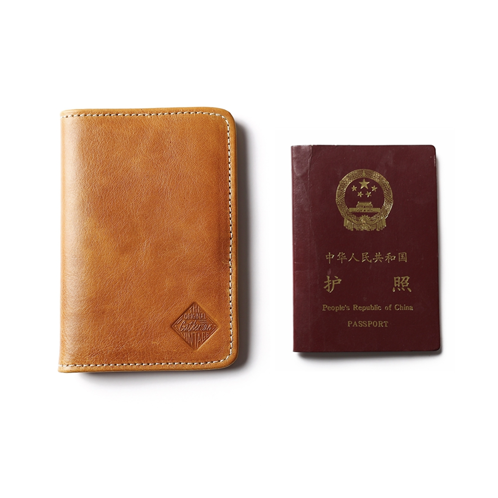 TAN USA PASSPORT COWHIDE LEATHER COVER Travel Card Case Wallet US Seller