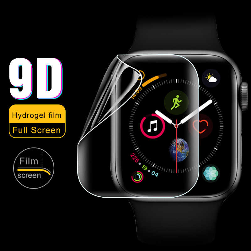 For iWatch 4 Hydrogel Film Full Screen Protector Not Glass For Apple Watch 4 Tempered Film HD 9D Curve Edge Glass 38 42 44 40 mm