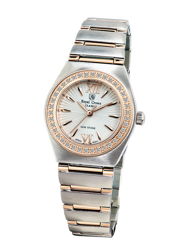 b16741f9468 Royal Crown Jewelry Watch 6416L Italy brand Diamond Japan MIYOTA Rose gold  Relogio Stainless Steel Clasp