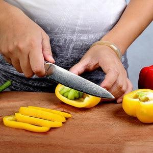 "Image 2 - New SUNNECKO 5"" inch Utility Knife Razor Sharp Blade Japanese VG10 Steel Kitchen Knives Damascus G10 Handle Chef Slicing Cutter"