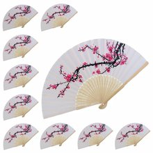 METABLE Silk Vintage Style Folding Hand Fan METABLE 10 pcs Delicate Cherry Blossom Design Wedding Favors Gifts cute cherry blossom style soap red white 2 pcs