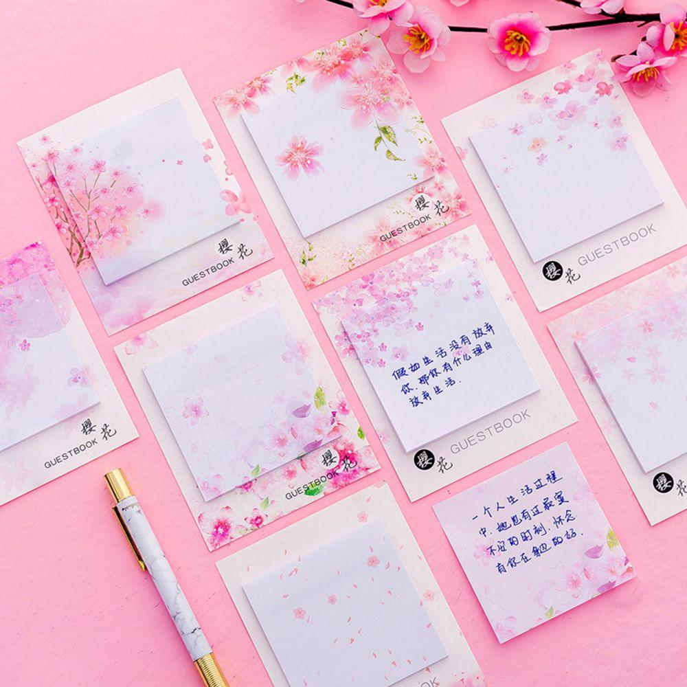 Fresh Cherry Sakura Natural Memo Pad Sticky Notes Shopping Check List School Office Supply Label