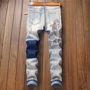 Image 2 - Мужские джинсы с вышитым карпом Sokotoo винтажные зауженные брюки с заплатками стрейчевые джинсовые штаны