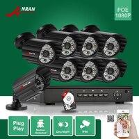 ANRAN CCTV Onvif P2P 1080P 8CH NVR POE HD 2 0 Megapixel 48 IR Night Vision