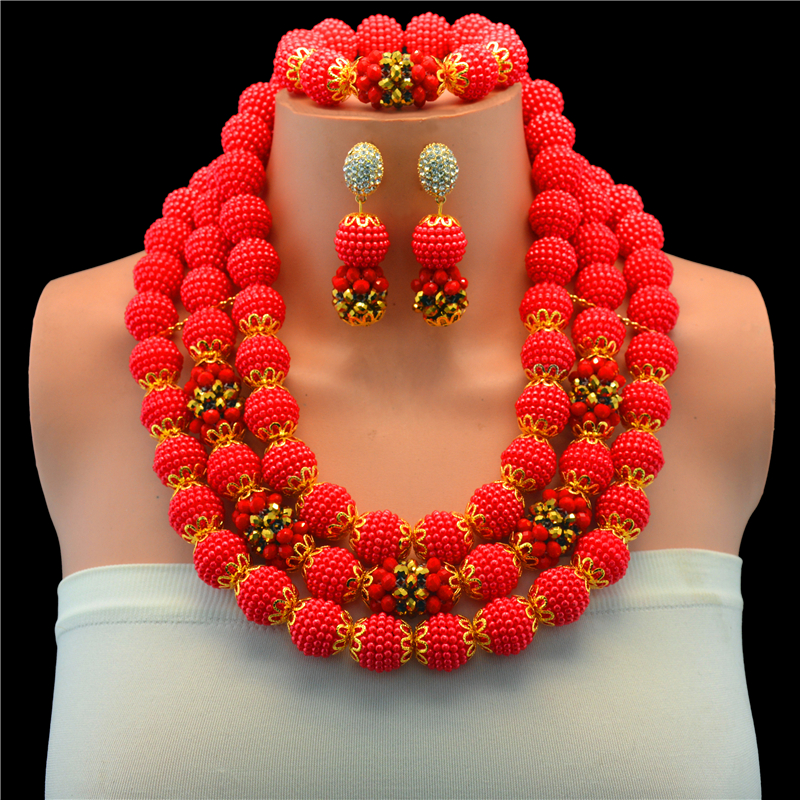 Red Nigerian Bridal Wedding African Beads Jewelry Sets Bohemian Handmade Gold-color decorative pattern Beads Earrings Necklace romanson rl 2623q lw wh bk page 2 page 1 page 2 page 3