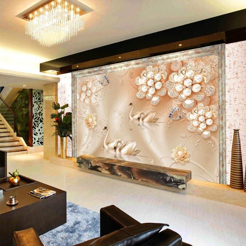 Custom Mural Wallpaper 3d Stereoscopic Relief Pearl: Custom Mural 3D Stereo Wallpaper Luxury European Silk