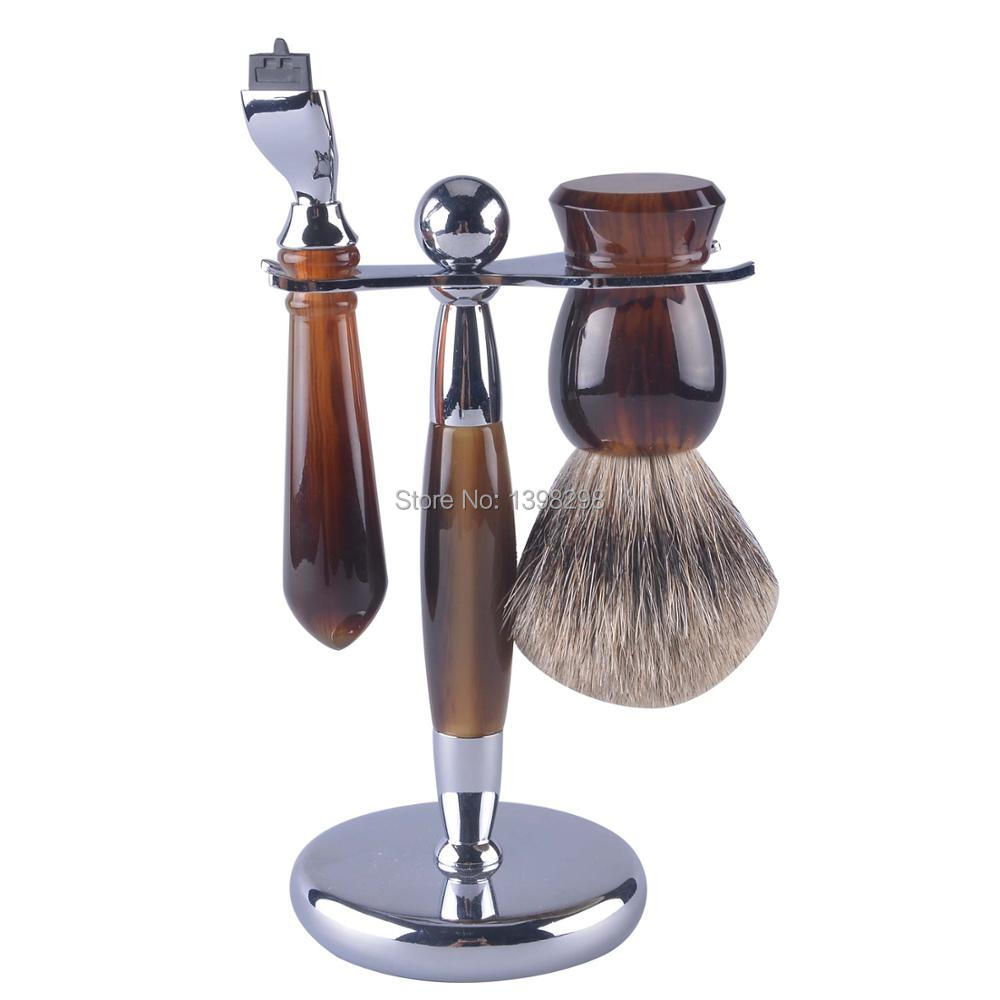 top selling factory price shaivng brush turtle shell handle shaving brush kit shaving razor stand set pure badger hair blue flower design кожа pu откидной крышки кошелек карты держатель чехол для samsung j5prime