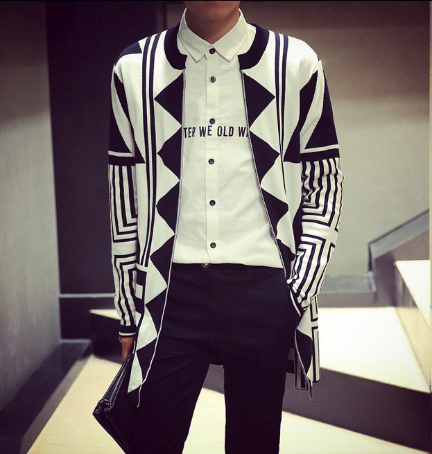 New Men's Vogue Geometric Knit Sweater Mod Long Slim Fit Open ...