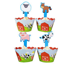 12Pcs Cartoon Farm animals Chicks cows Cupcake Wrappers Toppers pick Kids Baby Birthday Party Supplies Wedding Cups Cake Decor(China)