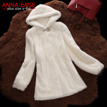 6XL Plus Size 2016 Women Winter-clothing Marten Overcoat Medium-long Synthetic Mink Fur Coat with a hood Faux Fur Hooded Jacket