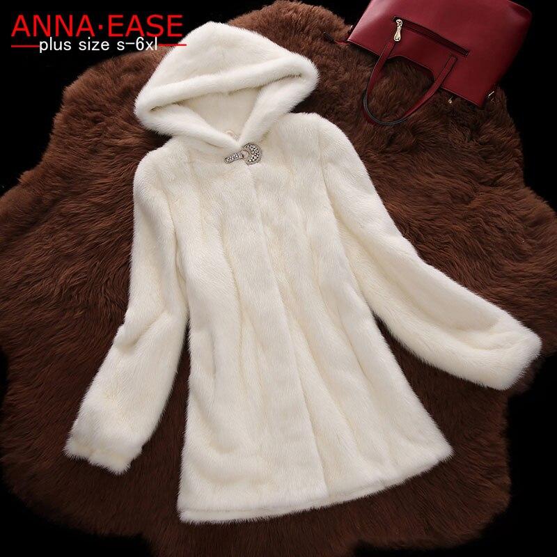 6XL Plus Size Women Winter-clothing Marten Overcoat Medium-long Synthetic Mink Fur Coat With A Hood Faux Fur Hooded Jacket