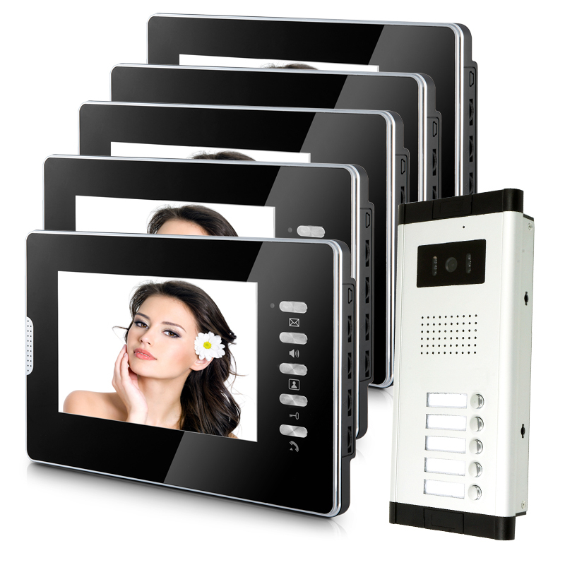 Brand New Apartment Intercom Entry System 5 Monitors Wired 7 Color Video Door Phone intercom System for 5 house FREE SHIPPING apartment 5 unit intercom entry system wired video door phone audio visual