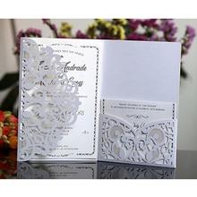 50 шт. синий белый элегантный полый лазерный разрез свадебные пригласительные открытки на заказ бизнес с открытка RSVP вечерние принадлежности