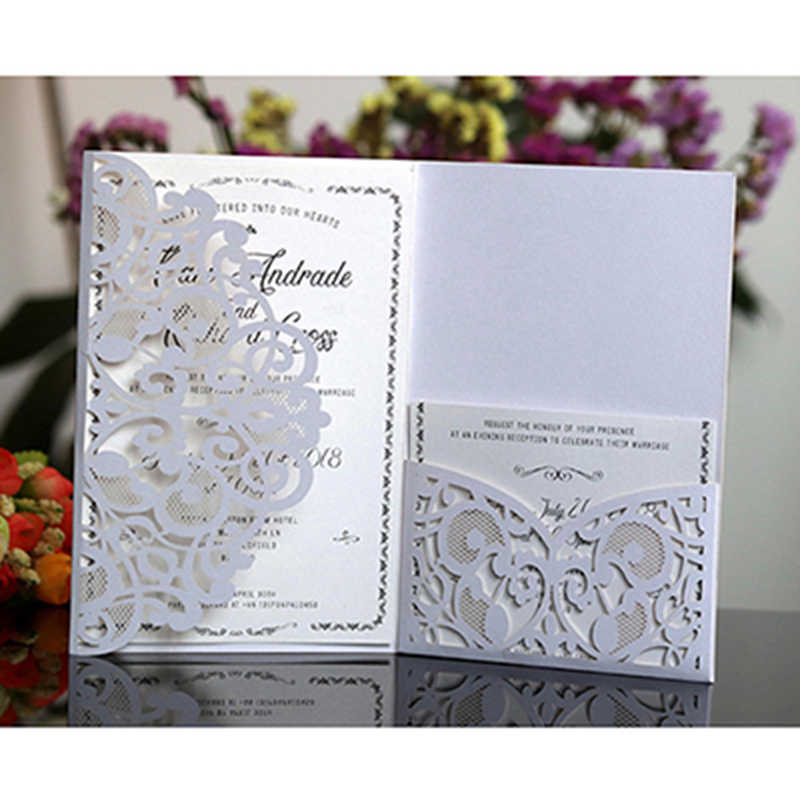 50pcs Blue White Elegant Hollow Laser Cut Wedding Invitation Card Greeting Card Customize Business With RSVP Card Party Supplies
