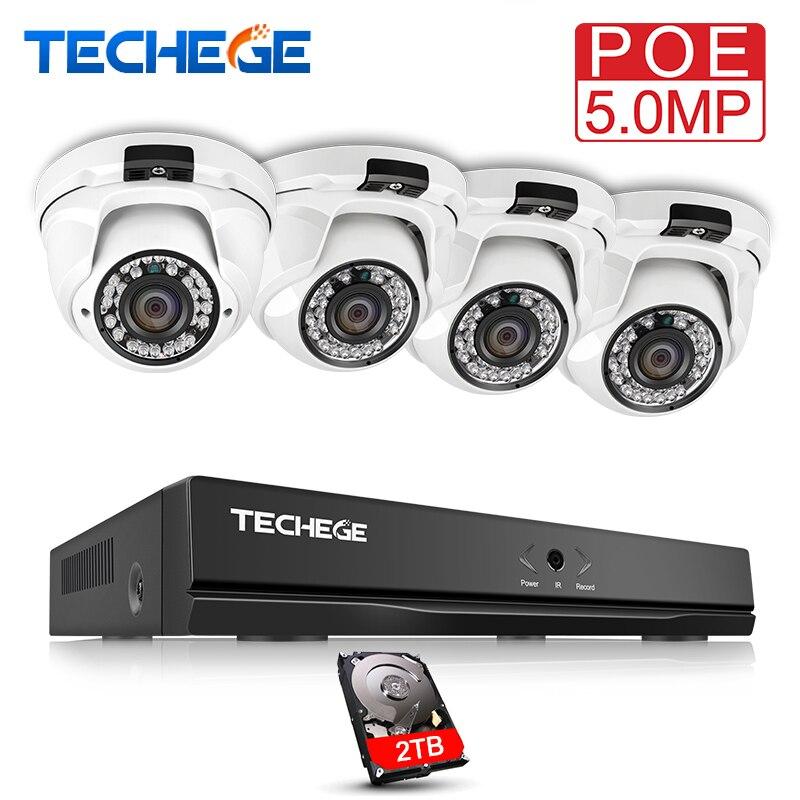 Techege H.265 4CH CCTV Sistema 5MP 2592*1944 Câmera IP POE Onvif À Prova D' Água Câmera de Vigilância de Detecção De Movimento de Alerta de E-mail kit