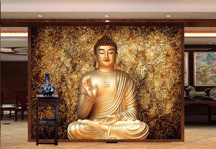 Golden Buddha Photo wallpaper Buddhist Temple Wall mural Custom 3D ...