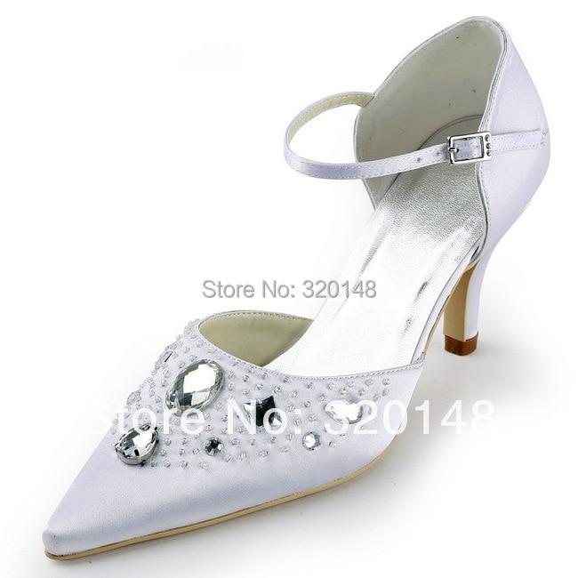 ФОТО EP11117 Pointed Toe Pumps Rhinestone Satin Women's Pumps Wedding Bridal 3