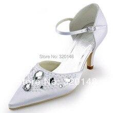 EP11117 Pointed Toe Pumps Rhinestone Satin Women's Pumps Wedding Bridal 3″ High Heel Shoes