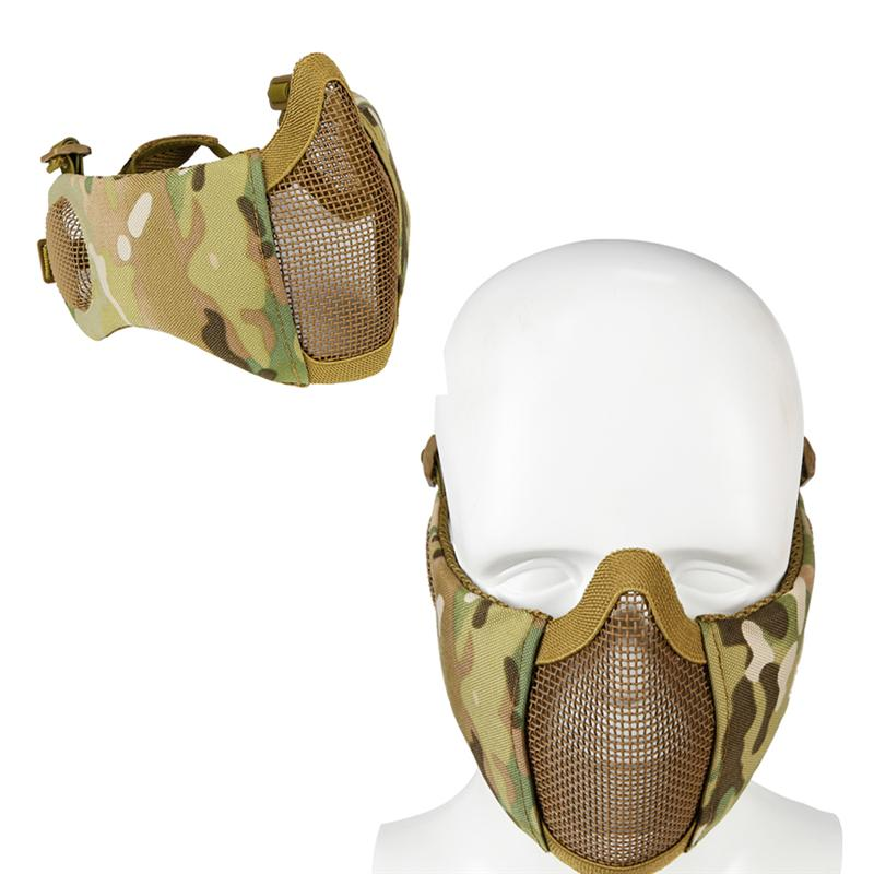 Tactical Airsoft And Paintball CS Foldable Half Face Low-carbon Steel Mesh Military Style Comfortable Adjustable Protective Mask