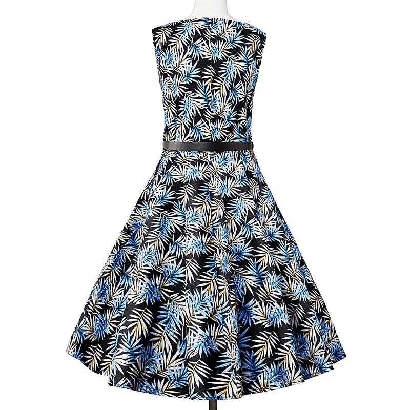 Kostlish Elegant Print Women Summer Dress Sleeveless Cotton Hepburn 50s 60s Vintage Dress With Belt Casual A-Line Ladies Dresses (24)