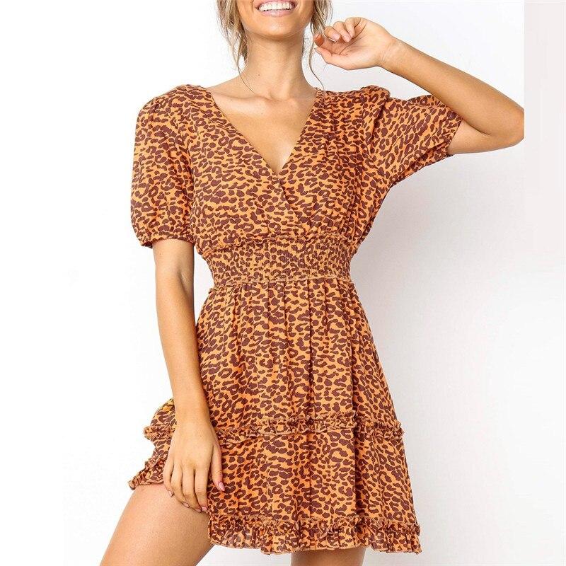 c84f1d8dedebafc Сексуальное летнее Новое модное женское платье с леопардовым принтом, с v-образным  вырезом, повседневное вечерние для вечеринок, ночного кл.