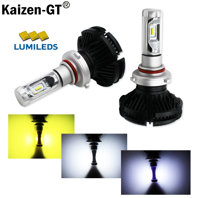 (2) High Power LED Headlight Bulbs - 9005 9006 H10 LED Powered By Luxeon LED with Removable Fan-less Heatsink(6000K 8000K 3000K)