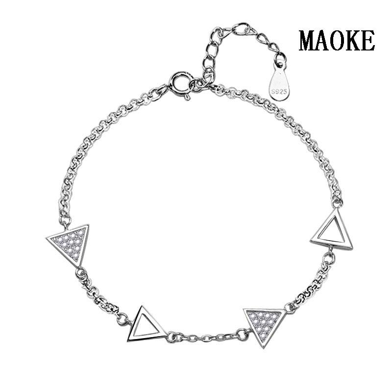 Promotion S925 Bracelet en argent Micro-incrusté Triangle chaîne Bracelet en argent Sterling bijoux de mode pour les cadeaux de mode des femmes
