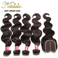 "Malaysian 4 Bundles With Closure Body Wave 4""x4"" Malaysian Body Wave With Closure 10-20inch (Free Part ,Middle Part,Three Part)"
