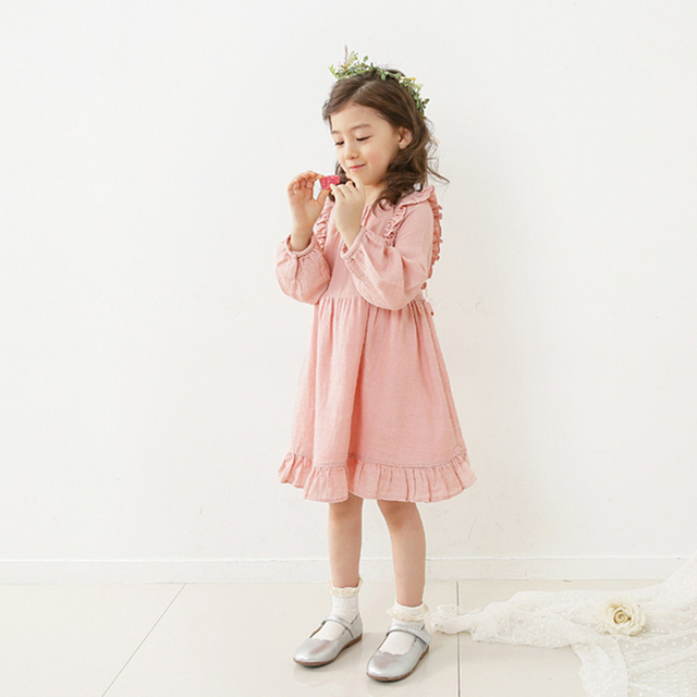 14092b322373 Newest 2016 Spring And autumn Little Girls Dress Kids Girls Pink Long  Sleeve Dress For Party