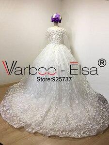 Image 4 - Vestido de baile VARBOO_ELSA, vestido de novia árabe 3D de lujo con apliques y cuentas de encaje de diamante, vestido de novia blanco 2018, vestidos de boda