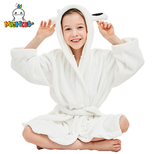 MICHLEY Kids Bath robes Adorable Baby Girl Roupao Hooded Childrens Towel White Cow Bathrobes Beach Swimwear Boy Pajamas WEK-W