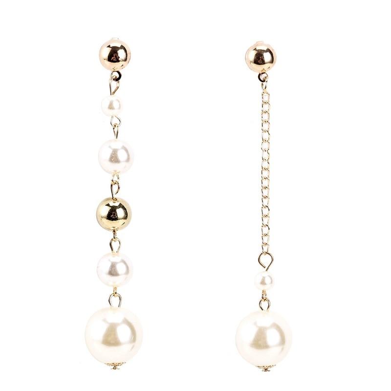 1 pair Long Tassel Pendant Dangle Earrings Asymmetric Irregular Pearl Earrings Women Geometric Drop Earring DIY Wedding Party