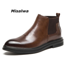 Misalwa Chelsea Boots Men Vintage Style Autumn Winter Warm Snow Boots 2019 Trending Boys Casual Shoes Leather Ankle Boots
