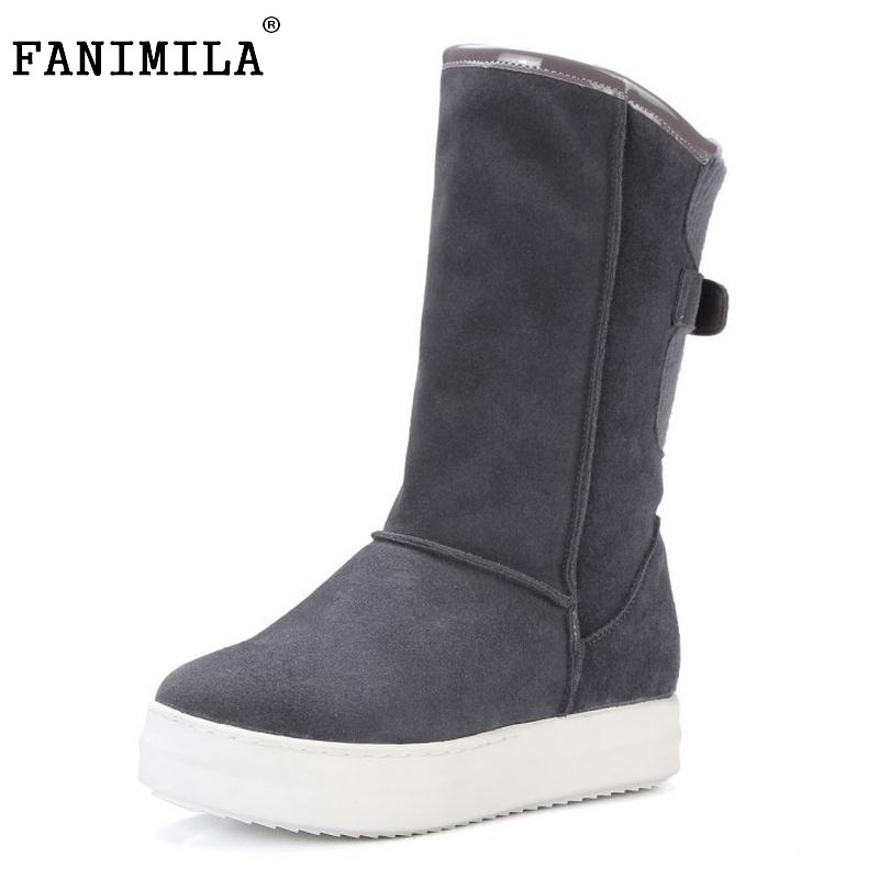 Winter Real Leather Boots Thickened Fur Women Boots Short Ankle Snow Boots Lady Buckle Platform Footwear Women Shoes Size 33-42 nemaone winter women round toe ankle boots high heels shoes double buckle platform short martin booties size 33 43