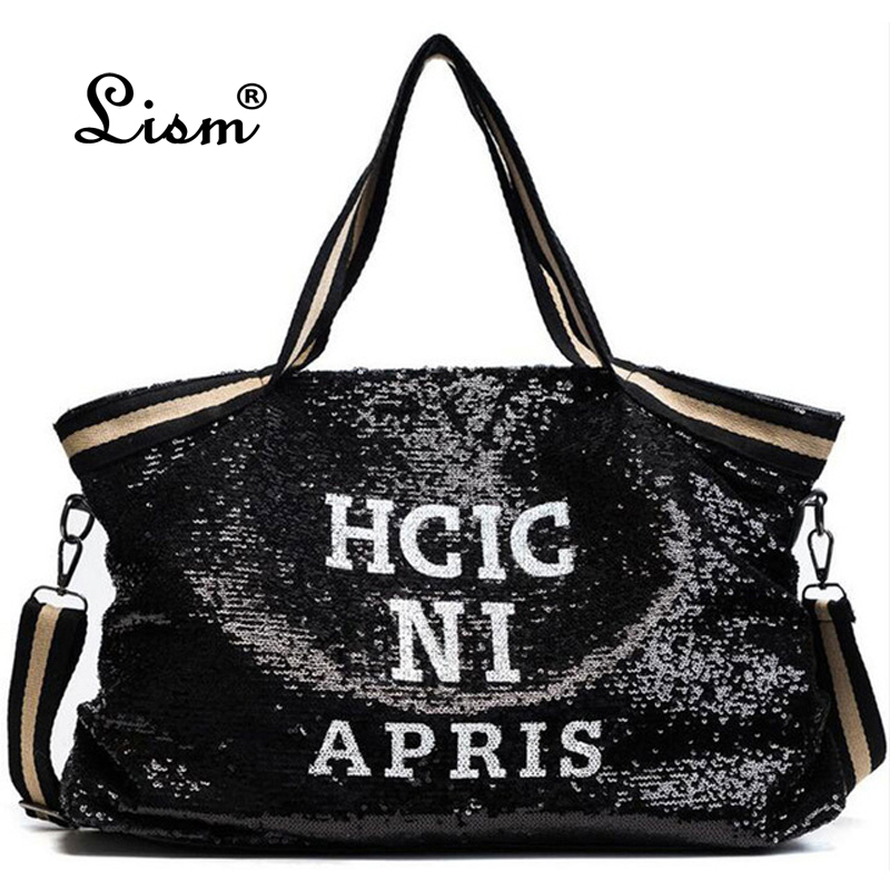 2018 Fashion Sequin Pillow Bag Casual Composite Bag High Quality Pu Leather Shoulder Bag Large Capacity Tote Bags For Women 2018 fashion tote bag for women composite bags high quality pu leather ladies handbags brand large capacity women crossbody bags