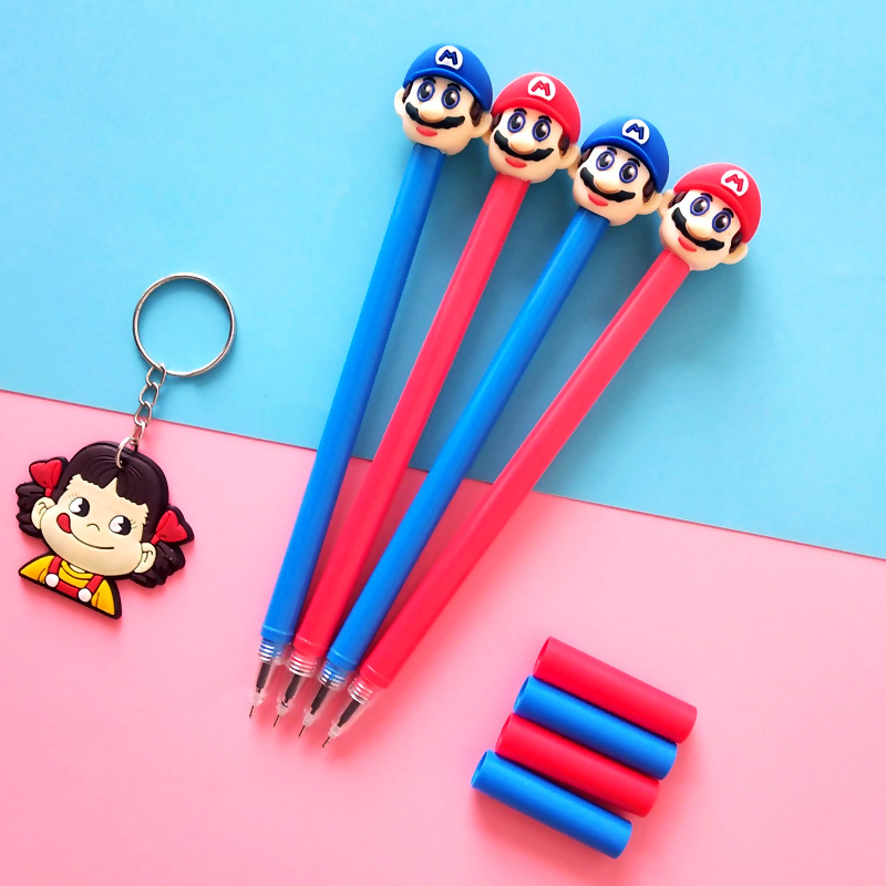 2 pcs/lot Super Marie Mario Gel Pen Signature Pen Escolar Papelaria School Office Supply Promotional Gift 4 pcs lot novelty lovely my neighbor totoro gel ink pen papelaria escolar school office supply promotional gift signature pens