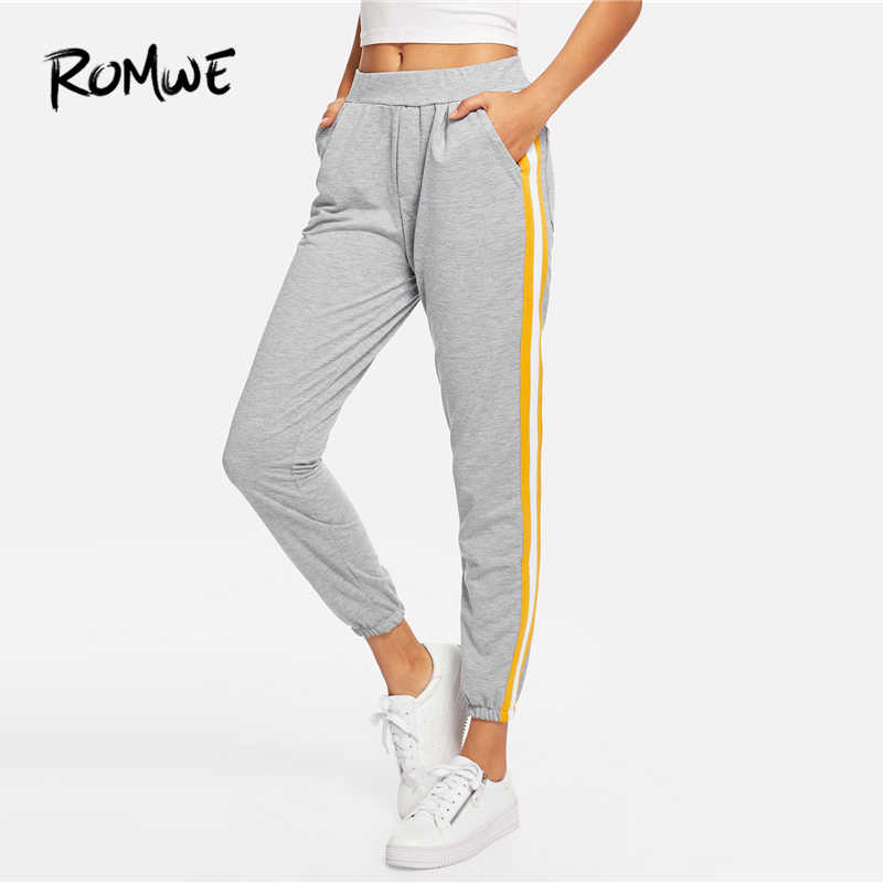 513f435a9 ROMWE Grey Striped Tape Side Sweatpants Women Casual Clothes Autumn Womens  Fashion Sporty Pants Female Sports Trousers